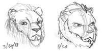Exploratory sketches of escort character's face
